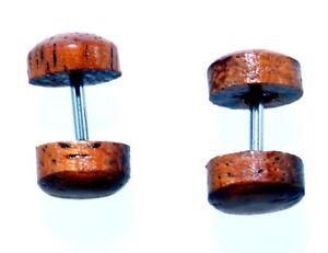 Fake Plug aus Holz Paar Preis Edelstahl Stift Natur Produkt Nr. 289: