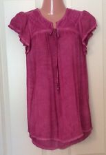 Live And Let Live Pink Acai Cap Sleeve Tie Front Top Small New