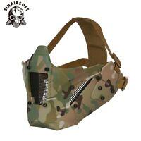 Tactical Warrior Mesh Iron Half Face Mask Adjustable Airsoft Hunting Helmet Mask