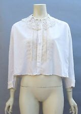 Antique 1910s Embroidered White Cotton Blouse w/Lace Collar Edwardian Top Ivory