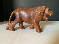 Vintage Hand Carved Wood African Lion Figurine