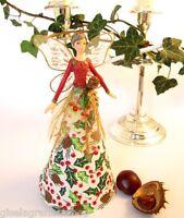 GISELA GRAHAM Christmas tree topper fairy angel red green gold holly LAST FEW!