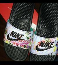 73c50e44e Women Nike Benassi JDI Slides floral tropical swarovski bling Sandals 8