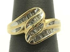 14K Yellow Gold .70 CTW Diamond Baguette Wave Swirl Elegant Cocktail Ring