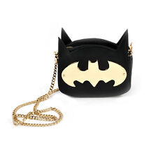 Batman Gotham Gold Cross Body Bag Handbag Metal Logo with Chain 20.5x19.5x7cm