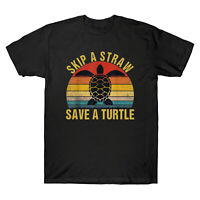 Skip A Straw Save A Turtle Vintage Men's Short Sleeve T-Shirt Retro Cotton Tee