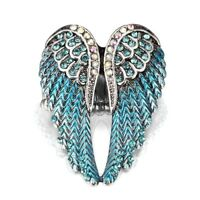 Women Silver Plated Rhinestone Bling Angel Wings Jewelry Ring Crystal Wings