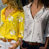 Women Office T-Shirt  Long Sleeve V-neck Tops Cotton Blend Blouse Summer S-5XL