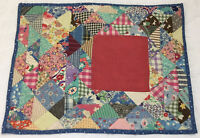 Vintage Patchwork Quilt Table Topper, Triangles, Feed Sack Prints, Florals