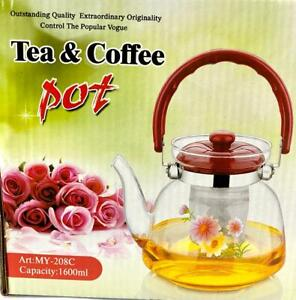 Heat Resistant Glass Tea & Coffee  pot with Strainer  1600 ml .Elegant Design