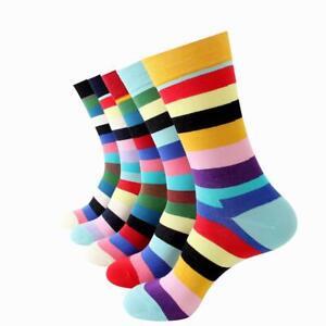 Plain 5 Colors Mens Colorful Crew Socks Premium Cotton with Soft Elastic 5 Pack