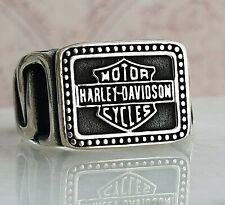 Harley Davidson Motorcycle Logo Ring Solid 925 Sterling Silver Mens Ring  15 Gr