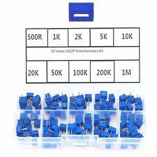 10 Value 100pcs 3362p Trim Pot Trimmer Potentiometer Resistor 3362 Box Kit