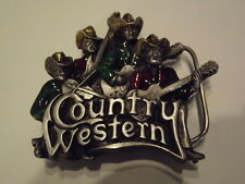 Vintage Pewter Belt Buckle COUNTRY & WESTERN Music Cowboy Band