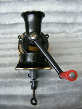 Vintage Black Spong No 1 Coffee Mill Grinder Cast Iron Red Plastic Handle & Tray