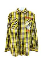 Sagartous Reign  Raw Blue Mens 2XL Plaid Shirt With  Cross  Long  Sleeves