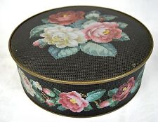 """Sunshine Biscuit Tin Sewing Box Textured Rose Needlepoint Container 10"""""""