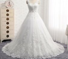 UK White/ivory Lace Sleeveless A-line Wedding Dress Bridal Gown Sizes 6-22