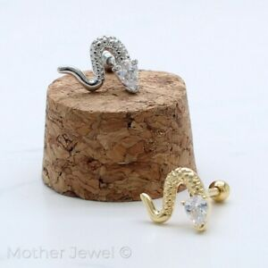 SIMULATED DIAMOND SNAKE SERPENT SILVER 14K YELLOW GOLD IP CARTILAGE LABRET STUD