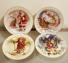 Pottery Barn Christmas Nostalgic Santa Salad Plate Set of 4 NEW