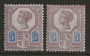 GB 1887/1888 5d Jubilee *BOTH DIES die I/II* fresh MINT OG SG#207/207a cat £842