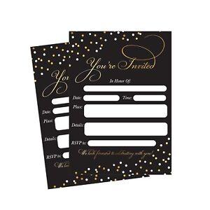 50 Fill In Invitations, Black Wedding Invitations, Bridal Shower Invitations,...