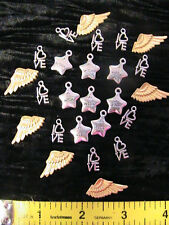 25 VICTORIAN STEAMPUNK LOVE, WISH, WINGS Tibetan silver~gold CHARMS~pendants