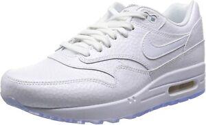 Original Women's Nike Air Max 1 Premium White Trainers 454746 106