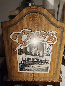 Vtg 1989 Cheers Tv Show Dart Board Wood Cabinet  Man Cave Bar Decor Collectible