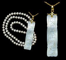 14k Chinese c.1760 Engraved Mother Pearl Long Pendant Floral Pattens Both Sides