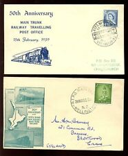 RAILWAY NEW ZEALAND 1958 + 1959 TPO POSTMARKS on ILLUSTRATED COVERS