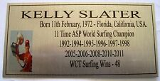 SURFING KELLY SLATER World Champ Silver Plaque Free Postage