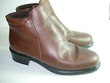 WOMENS BROWN LEATHER MARTINO ANKLE BOOTS COMFORT CAREER HEELS SHOES SIZE 7.5 M