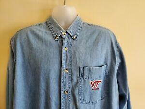 Virginia Tech Embroidered VTG Mens XL Long Sleeve Denim Shirt Red Oak Button Up
