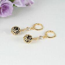 E10 18K Gold Filled Black Bead Dangle Huggie Earrings - Giftboxed