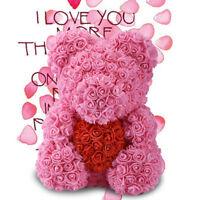 "WR 15"" Pink Rose Teddy Bear /w Heart Flower Gift For Girlfriend Birthday Wedding"