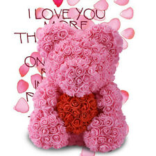 "WR 15"" Pink Rose Teddy Bear /w Heart Flower Gift For Girlfriend Birthday Wedding"