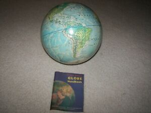 Vintage 1971 Rand McNally Topographical Replacement Globe With Handbook NOS