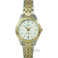 Casio LTP-1129G-7A Women's Quartz Two-Tone Analog Dress Watch w/ White Dial