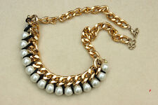Stunning STATEMENT Chunky GOLD Chain Pearl Bead Black Cord Collar NECKLACE