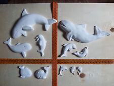 11 Gips Figuren zum Bemalen, Wale & Delphine, Maritim Meer Tiere