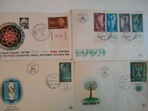 Lot 4 Envelopes Israel Stamps 1955 1956 Hebrew
