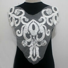 1Piece Collar Neck Embroidery Ribbon Tulle Lace Applique/Patch~Sew On Off White