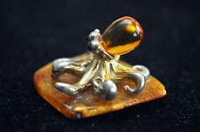 Vintage Natural Baltic Amber and Sterling Silver Octopus 12.95 grams