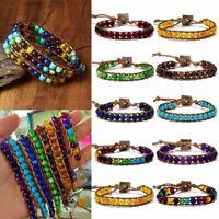7 Chakra Natural Stone Tube Beads Bracelet Handmade Braided Yoga Bangle Jewelry