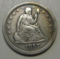 1857 Silver Seated Liberty Quarter Grading XF Nice Original Uncleaned Coin  b46