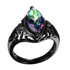 Mystic Rainbow Sapphire Marquise Cut 10KT Black Gold Filled Wedding Ring Gifts