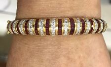 Pre Owned18k Solid Yellow Gold Wavy Bangle with Natural Ruby And Diamonds15.72GM