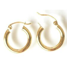 2 mm by 14 mm E7214-60 14K Solid Yellow Gold Hoop Earring. New