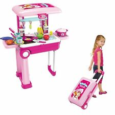 Pretend Kitchen  Toy Chef  2 In 1 Pretend Play Travel Set Pink Girls food clean
